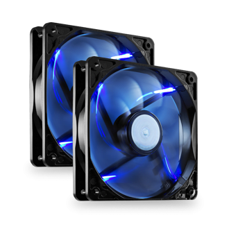 2 x 120mm Blue LED High Performance Fans