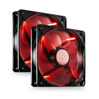 2 x 120mm Red LED High Performance Fans